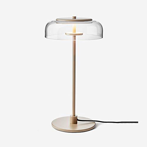 JJZXD Habitación Moderna Sala de LED Lámparas de Mesa de Cristal Claro de la decoración del Arte Pantalla de Estar Mesita de Noche la luz de la lámpara Cama Cuerpo de iluminación