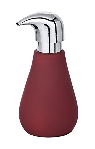 WENKO Seifenspender Sydney Rot Matt - Flüssigseifen-Spender mit Soft-Touch Beschichtung Fassungsvermögen: 0.32 l, Keramik, 8.5 x 17 x 9 cm, Rot