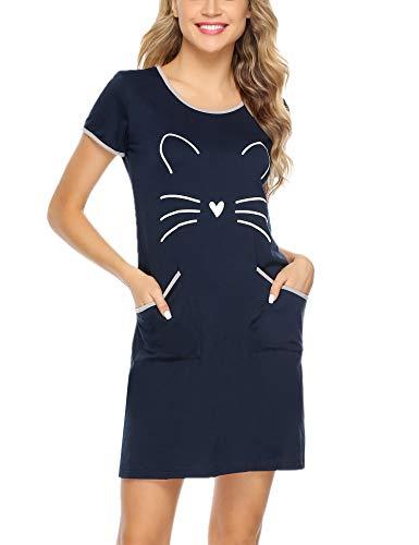 Sykooria Camicia da Notte a Maniche Corte in Cotone per Donna Materiale Morbido e Confortevole Vestito da Notte con Stampa Girocollo di Gatti