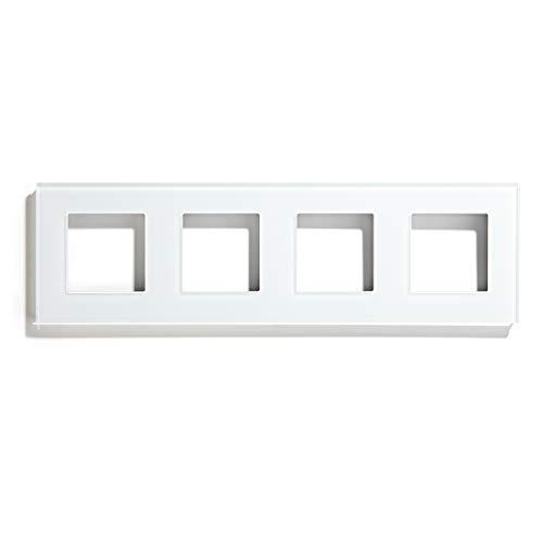 BSEED Rahmen Glasrahmen Panel für Lichtschalter und Steckdose Weiß 229mm