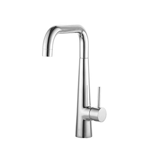 JASSFERRY Modern Kitchen Sink Mixer Tap Single Handle High Swivel U-Style Spout Chrome Polished