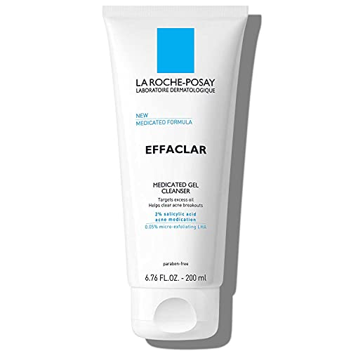 La Roche-Posay Effaclar Medicated Gel Acne Face Wash, Facial Cleanser with Salicylic Acid for Acne & Oily Skin, Suitable for Sensitive Skin, 6.76 Fl. Oz