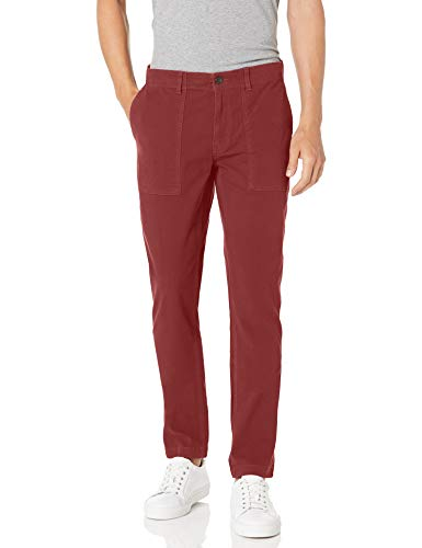 Amazon Brand – Goodthreads Men's Skinny-Fit Stretch Canvas Utility Pant, Burgundy 32W x 28L