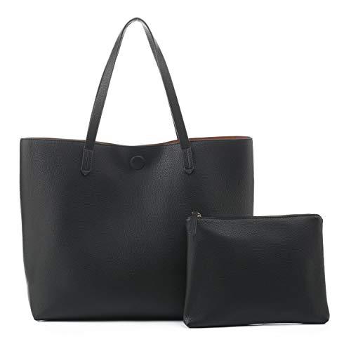EMPERIA Bracelyn Premium Faux Vegan Leather Contrast Lining Tote Shoulder Bag Handbag 2 PCS SET for Women BLACK