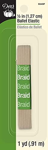 Dritz 9349P Braided Elastic, Ballet Pink, 1/2-Inch by 1-Yard