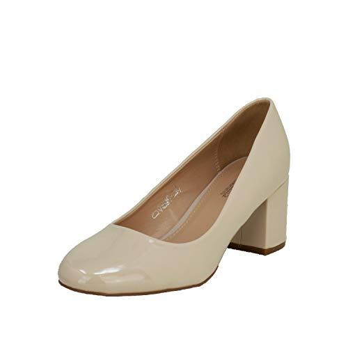 Fitters Footwear That Fits Damen Pump Sesy Lack Pumps mit Blockabsatz Übergröße (44 EU, beige)