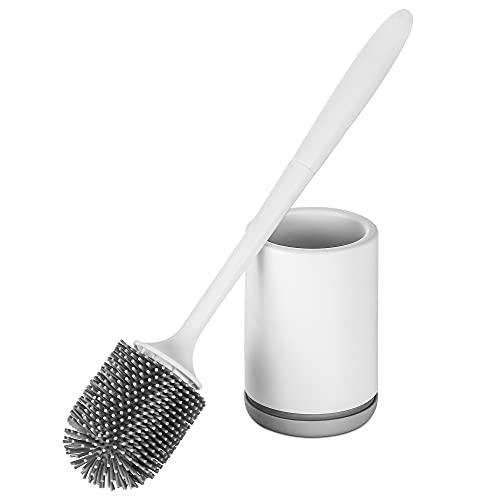 Hoomtaook Escobilla WC Silicona Soporte Blanco de Secado Rápido Soporte de Escobillas de Baño Silicona PP Resistente a la Suciedad Material TPR de Cerdas (Montaje en Suelo o Montaje en Pared) Blanco