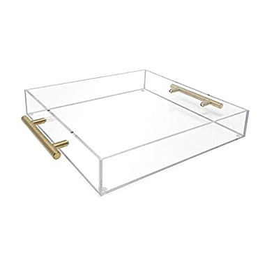 Isaac Jacobs Clear Acrylic Tray with Handle (12x12, Clear with Gold Handle)