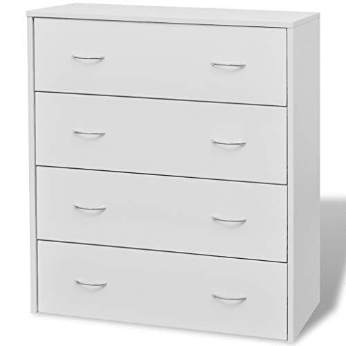 GOTOTOP - Aparador con 4 cajones, armario lateral, cajonera moderna, estantería de aglomerado + MDF, para salón, comedor, pasillo, 60 x 30,5 x 71 cm, color blanco