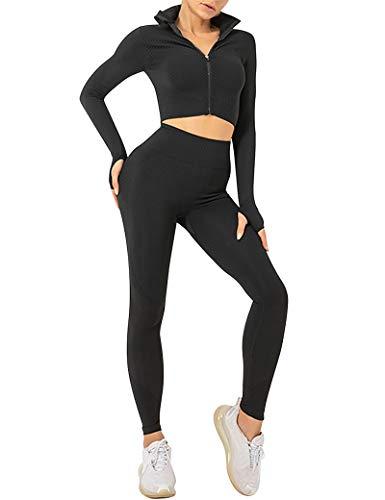 CINDYLOVER Completto da Yoga Donna 2 Pezzi con Pantaloni stretti longhi Vita Alta,Tute da Ginnastica Top Corto con Maniche Lunghe per Corsa, fitness Abbigliamento Sportivo Nero XXL