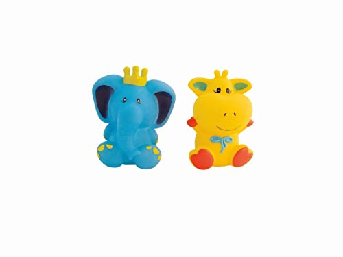 Bieco 11100065 Bath Animals Elephant and Giraffe, Squeaky Bath Toy, Squeaky Toys for The Bath, Water Toy for Babies and Toddlers from 3 Months +, Multi-Colour, 40 g