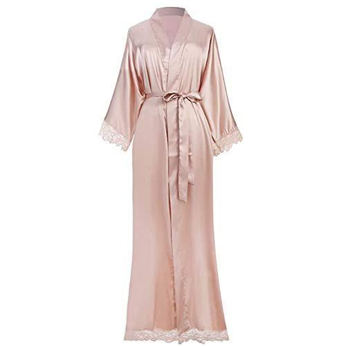 YCX Damen Morgenmantel Maxi Lang Seide Satin Kimono Kleid Einfarbiger Bademantel, Damen Lange Robe Reine Farbe Schlafmantel,Natural
