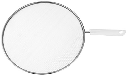 Fackelmann Spritzschutz ARCADALINA, Spritzschutzdeckel für Pfannen bis Ø 28 cm, Spritzschutzsieb für das Braten ohne Fettspritzer (Farbe: Silber/Weiß), Menge: 1 Stück