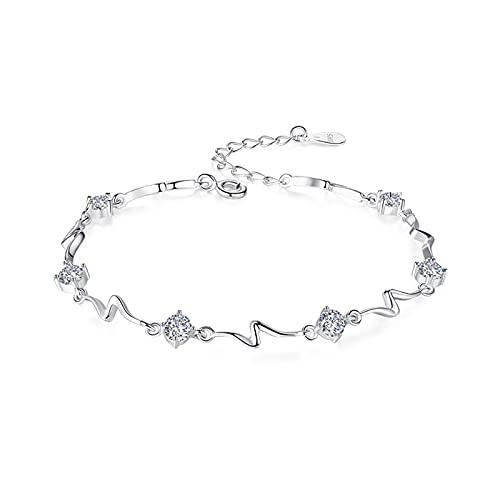 Pulsera de plata esterlina con corazón de océano a la moda para mujer, pulsera Mori fresca, regalo de aniversario con incrustaciones de circonita cúbica DB0015白锆