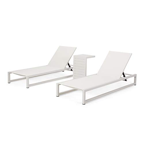 Jerome Outdoor Aluminum Chaise Lounge Set with C-Shaped End Table, White