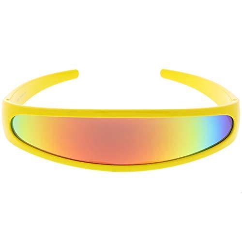 zeroUV - Futuristic Narrow Cyclops Color Mirrored Lens Visor
