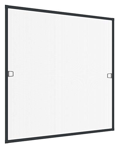 Windhager Insektenschutz Spannrahmen Fliegengitter Alurahmen für Fenster Ultra Flat, 100 x 120 cm, anthrazit, 03967