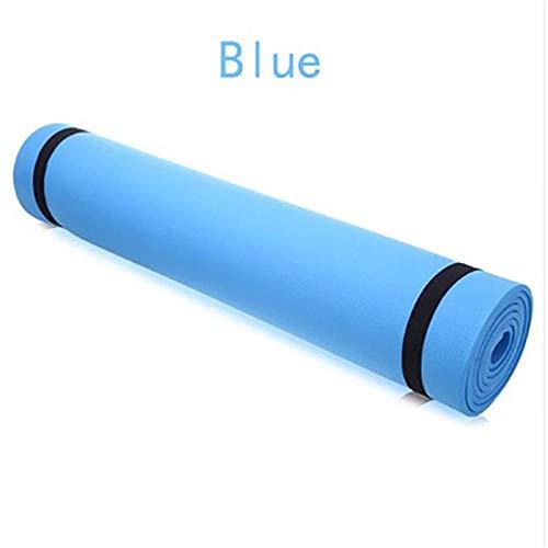 Estera de Yoga 173 * 60 Cm 4 Mm Alfombrillas De Yoga Antideslizantes Gimnasio Plegable Gimnasio Ambiental Gimnasio Almohadillas De Ejercicio Eva Azul