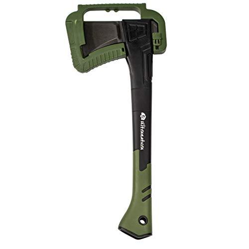 Ultranatura Hacha Profesional para Cortar leños pequeños, Protector de Hoja Incluido, Largo Aprox. 46 cm, Negro/Verde