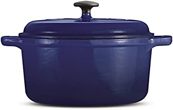 Tramontina 80131/622DS Style Enameled Cast Iron Covered Round Dutch Oven, 6.5-Quart, Blue