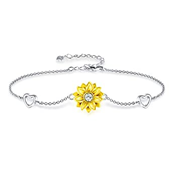 Mother s Day Gifts Bracelet for Women Sterling Silver Sunflower Heart Charm Bracelet Adjustable Birthday Jewelry Gifts for Mom Women Wife Her