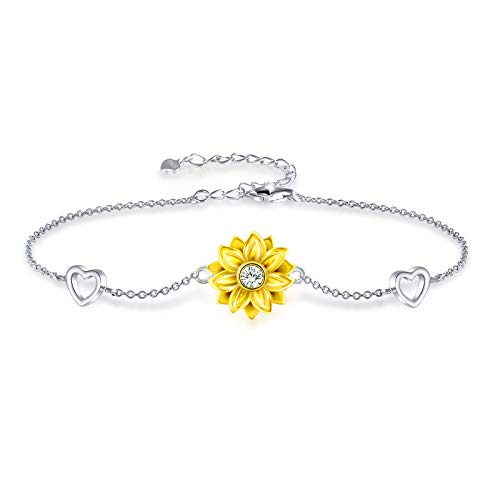Mother's Day Gifts Bracelet for Women Sterling Silver Sunflower Heart Charm...