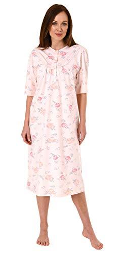 Jeanette by Normann Damen Kurzarm Nachthemd fraulich, 105 cm Länge, florales Muster - 63544, Größe2:48/50, Farbe:Rose