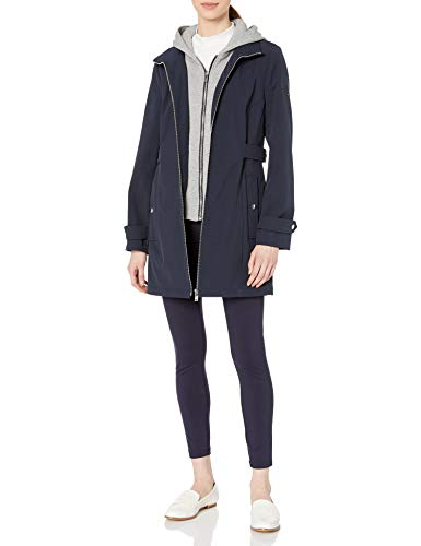 Tommy Hilfiger Damen Sporty and Classic Zip Front Hooded Soft Shell Rain Jacket Regenjacke, Navy, Mittel