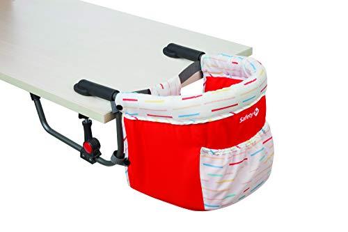 Safety 1st Smart Lunch Trona portátil bebé, trona de viaje para niños 6 meses - 3 años, compacta y fácil de llevar, color Red Lines