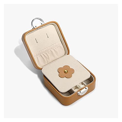 liangzishop Caja de Joyas Caja pequeña de joyería PU Caja de Viaje portátil, Caja de Almacenamiento de Pantalla para Anillos, Pendientes, Collares, 10 * 10 * 5 cm Organizador de Joyas
