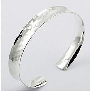 Breiter Damen Armspange gehämmert – 925 Sterling Silber – Armreif offen gewölbt