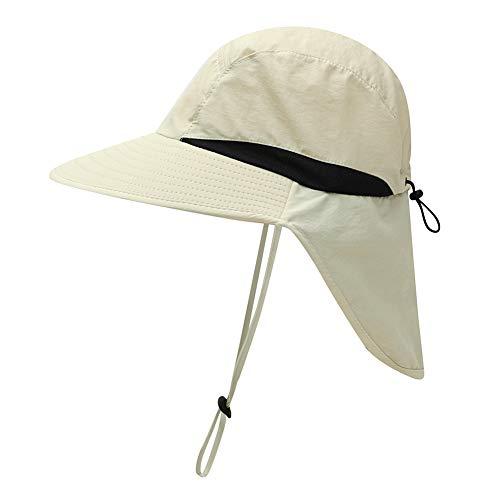 Ohhome Outdoor Flap Cap Large Brim Léger Résistant à l'eau Portable UV Protection Neck Cover Sun Hat Sportswear Accessoires avec jugulaire