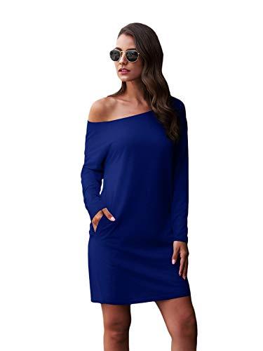 DIDK Damen T-Shirt Tunika Kleid One-Shoulder Langarm Kleider Casual Freizeitkleid mit Taschen Lässig Einfarbig U-Boot Ausschnitt Blau M