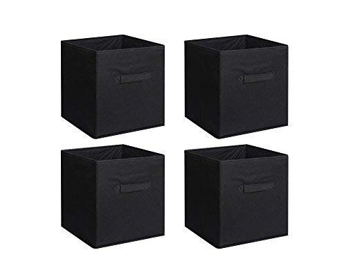 New Home Storage Bins Organizer Fabric Cube Boxes Shelf Basket Drawer Container Unit (4, Black)