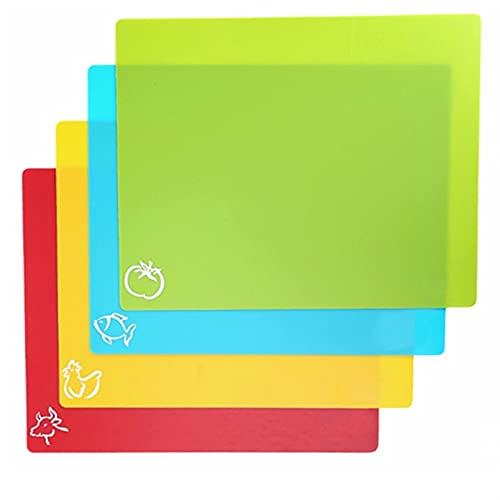 MJJCY 4PCS/SET 38x30.5cm Flexible Non-slip Rectangle Plastic Cutting Mats Chopping Block Back food cutting board Cutting Kitchen Tool (Color : Green)