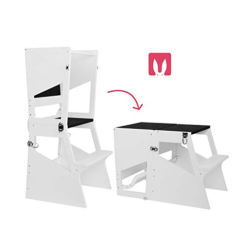 Bianconiglio Kids Moka TRS Learning Tower Montessori transformiert in Tisch - Kitchen Helper (Weiß und Tafel)