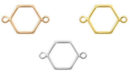 Sadingo DQ Schmuckverbinder, Anhänger Raute, Hexagon Roségold, 2 Stück, 19x12 mm, DIY Schmuck Machen Armbänder, Ketten