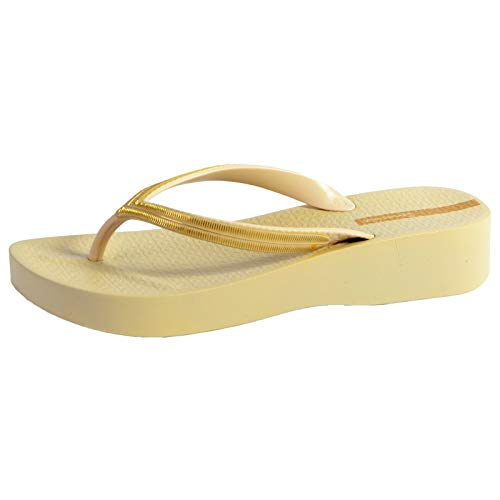 Ipanema - Chanclas de malla en V para mujer, color beige y dorado Size: 35/36 EU