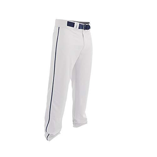 EASTON Rival 2 Baseballhose | Erwachsene | Groß | Weiß Navy | 2020 | Doppelt verstärkte Knie, elastischer Bund, Gürtelschlaufen
