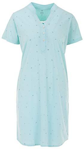 Zeitlos - Nachthemd Damen Kurzarm Stehkragen Blumendruck Knöpfe M - 6XL, Farbe:Mint, Größe:2XL