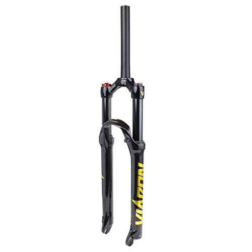 WHQ Suspension Fork Bike Air Forks, 26 27.5 29 Inch MTB Cycling Straight Tube Shoulder Control Shock Absorber Unisex's Travel 100mm (Color : C, Size : 26 inch)