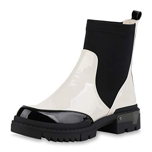 SCARPE VITA Damen Schlupfstiefeletten Plateau Boots Stiefeletten Lack Stiefel Profilsohle Blockabsatz Schuhe Schlupfstiefel 186192 Weiss Schwarz 38