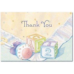 Baby Blocks Baby Dusche Thank You Karten und Umschläge–24Stück