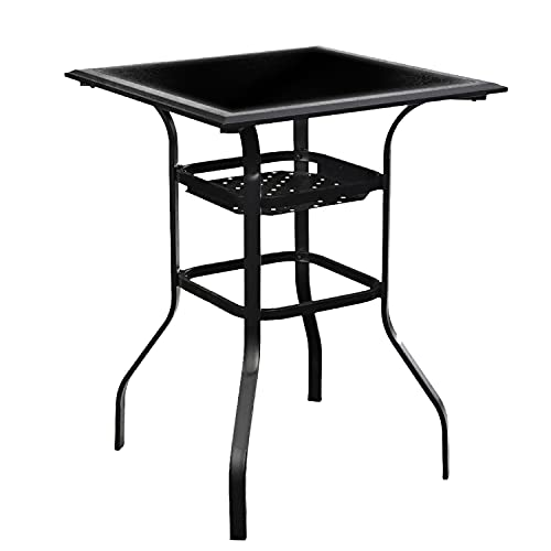 """LOKATSE HOME Patio Bar Height Outdoor Table Bistro Square Outside High Top with 2-Tier Metal Frame (27.6""""x 27.6""""x 36.2""""H), Black"""