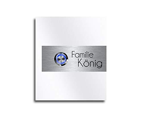 CHRISCK Design - roestvrij stalen designer deurbel met gravure naar wens LED-verlichting en motieven 10x13 cm belknop naam Model: König-GS