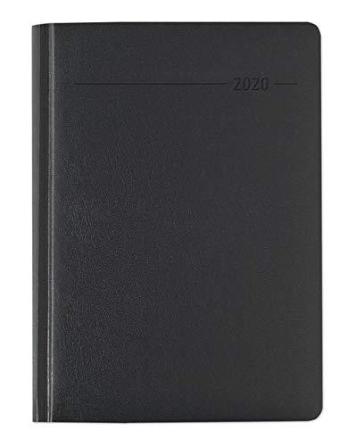 Buchkalender Balacron schwarz 2020 - Bürokalender A5 - Cheftimer - 1 Tag 1 Seite - 416 Seiten - Balacron-Einband - Terminplaner - Notizbuch