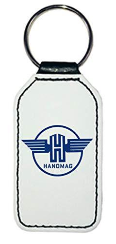 Bimaxx Leder Schlüsselanhänger | Hanomag Logo | rechteckig | weiß