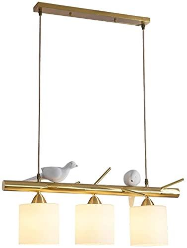 Moderno restaurante Lámparas de araña, cobre completo Pequeño Pájaro 3 Luz E27 Colgante Iluminación con lámpara de vidrio Luces de techo para comedor Barra de cocina (Color : Copper)