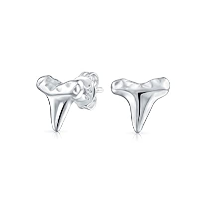 Small Tiny Nautical Shark Tooth Stud Earrings For Women For Teen Women Hammered 925 Sterling Silver