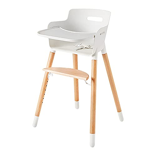 Ashtonbee Wooden High Chair for Babies and Toddlers, Sturdy Baby Highchairs, Baby Feeding Chair with Adjustable Wooden Chair Legs, Removable Tray, and Harness